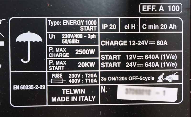 Battery Charger and Starter - Energy 1000 Start ea