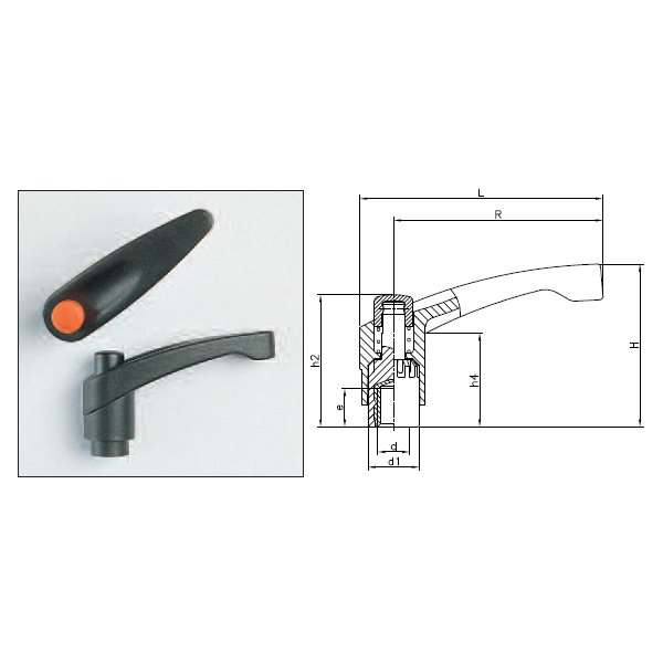 Clamping Levers 1198K (Adjustable Handle K With Threaded Insert)