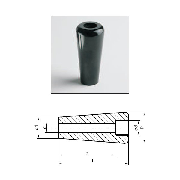 Revolving & Fixed Handles 1144P (Tapered Hand Knob P With Smooth Drill Out Hole)