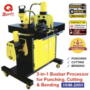 HUANHU 3-in-1 Busbar Processor for Punching, Cutting & Bending HHM-200H