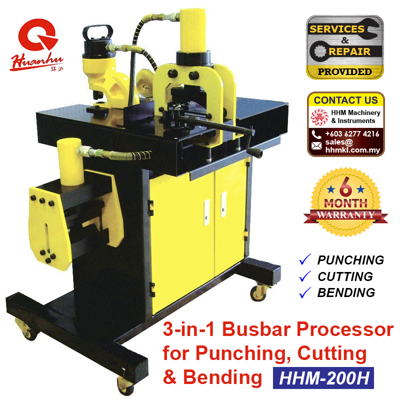 3-in-1 Busbar Processor for Punching Cutting & Bending HHM-200H