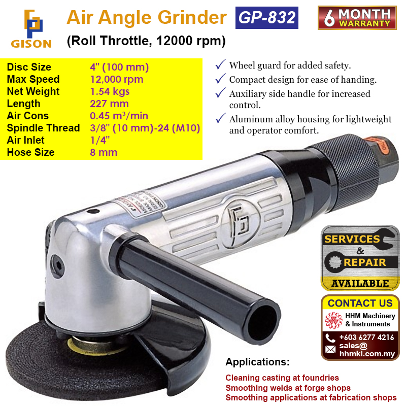 """GISON 4"""" Air Angle Grinder (Roll Throttle ,12000RPM) GP-832"""