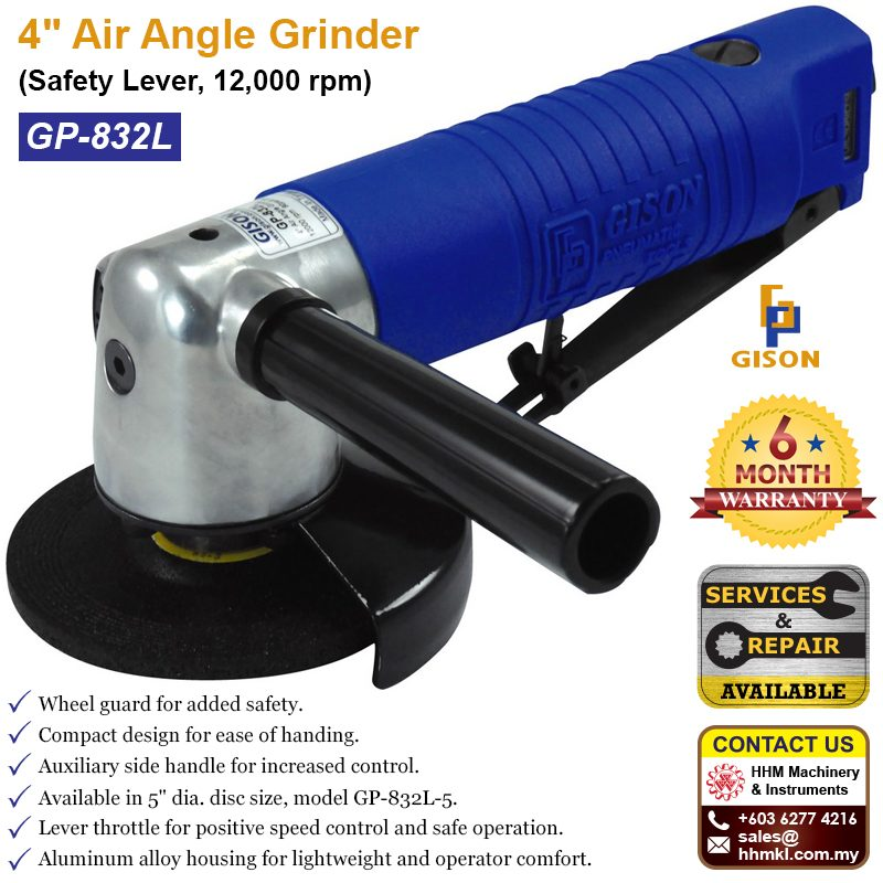 "GISON 4"" Air Angle Grinder (Safety Lever, 12,000 rpm) GP-832L"