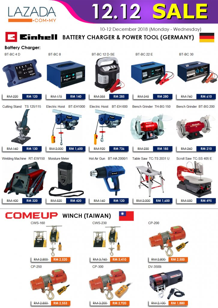 1212 Lazada year end sales promotion telwin einhell comeup