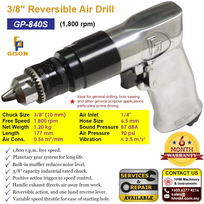 "GISON 3/8"" Reversible Air Drill (1800 rpm) GP-840S"