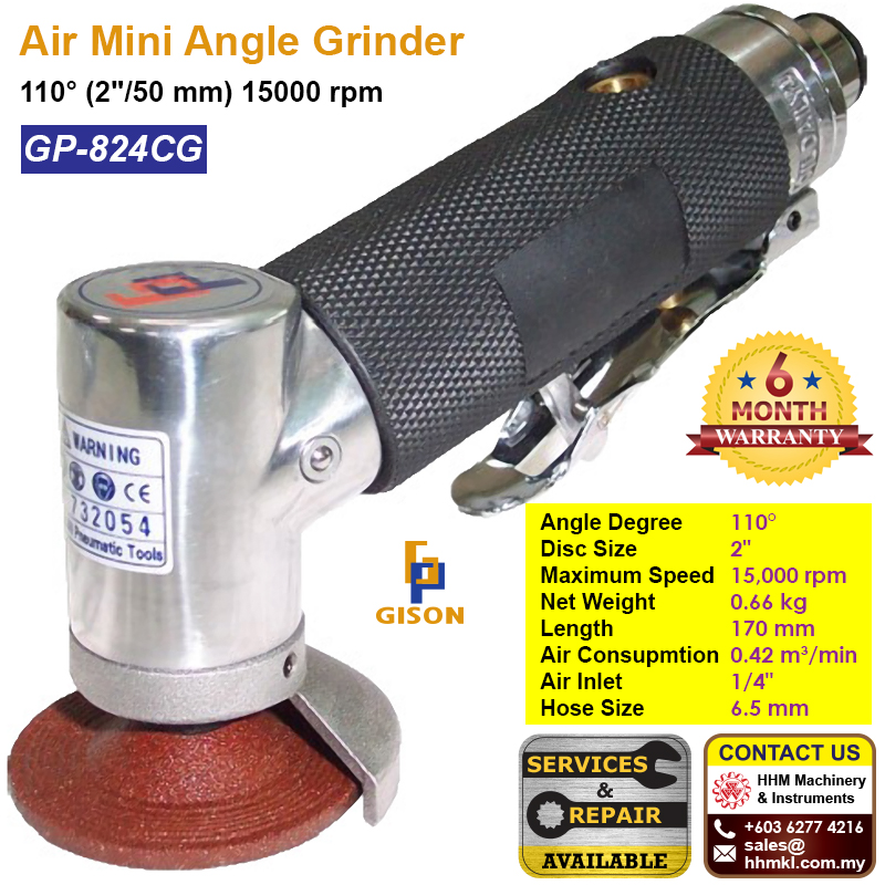 "GISON Air Mini Angle Grinder 110° (2""/50 mm) 15000 rpm GP-824CG"
