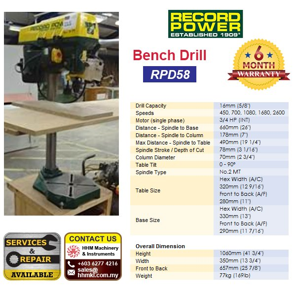 RECORD POWER Bench Drill RPD58