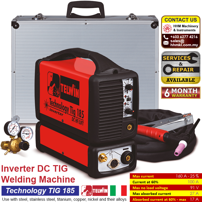 TELWIN Inverter DC TIG Welding Machine - Technology TIG 185 DC HF/LIFT