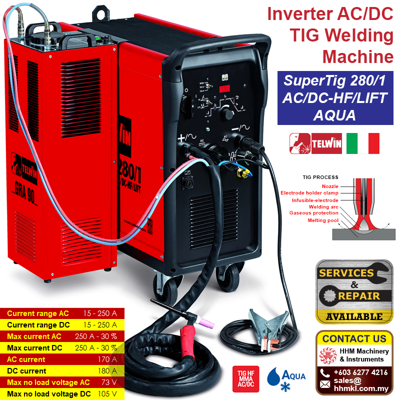 TELWIN Inverter AC/DC TIG Welding Machine - SuperTig 280/1 AC/DC-HF/LIFT AQUA