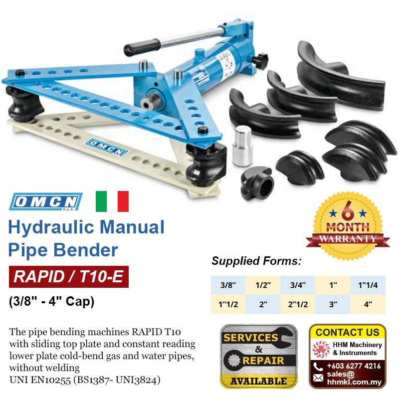 "OMCN Hydraulic Manual Pipe Bender (3/8"" -4"" Cap) RAPID/T10-E"