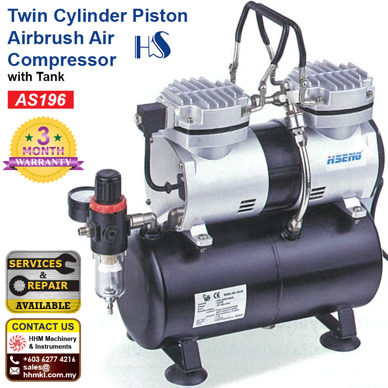 HAOSHENG Twin Cylinder Piston Airbrush Air Compressor with Tank AS196