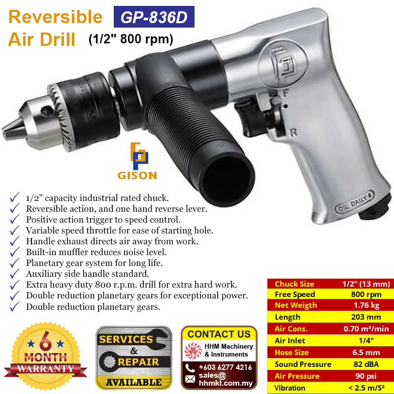 "GISON 1/2"" Reversible Air Drill (800 rpm) GP-836D"