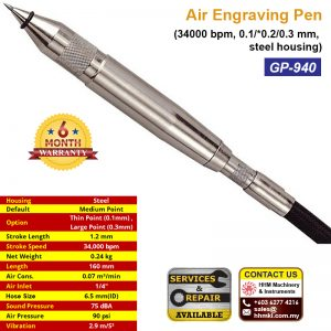 Air Engraving Pen (34000 bpm, 0.1/*0.2/0.3 mm, steel housing) GP-940